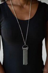 Paparazzi Necklace Jewelry set Terra Tassel Silver Fringe Pendent Gray Beads