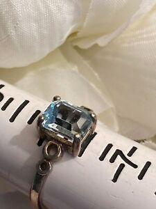 VINTAGE STERLING SILVER FILIGREE BAGUETTE CUT BLUE GEMSTONE RING - SIZE 6.25