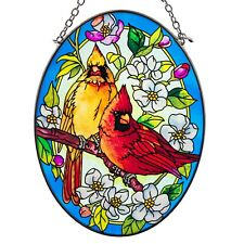 "Orchard Cardinals Bird Suncatcher Hand Painted Glass By Amia Studios 7"" x 5.25"""
