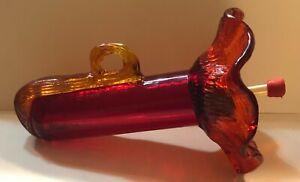 PAR-A-SOL ART GLASS HUMMINGBIRD FEEDER RED FLOWER APPLIED AMBER HANDLE