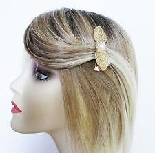 Hermoso Diseño De Hoja Diamante Cabello Clip Agarre con Perlas de Imitación en Color Oro