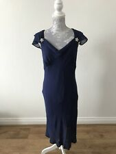 Hobbs Full Length Blue Silk Dress With Bead Detail On Bust And Hem - Size 12