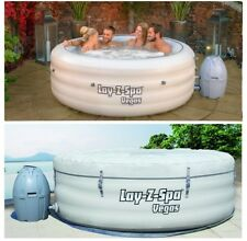 NEW Lay-Z-Spa Vegas Airjet Round Inflatable Hot Tub 4-6 Person Spa (Grey)