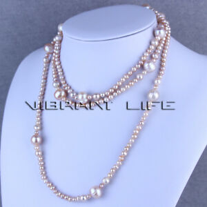 """52"""" 4-12mm Light Lavender Graduated Freshwater Pearl Strand Necklace Cultured"""