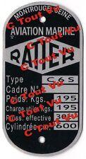 PLAQUE CONSTRUCTEUR  RATIER type C 6 S - VIN PLATE RATIER type C 6 S