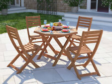 Outdoor Table And Chairs Set 5 Piece 4 Seat Garden Patio Wooden Dining Furniture