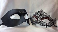 His and Hers Couple Masquerade mask pair Mardi Gras engagement wedding party