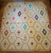 Vintage Full Size Quilt Flower Garden Hand Stitched Cropped Corners