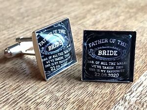 Father Of The Bride Cufflinks Personalised Wedding Date Gift Square Cuff Links