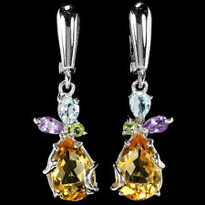 GENUINE 12X8 MM CITRINE WITH AMETHYST TOPAZ  PERIDOT STERLING 925 SILVER EARRING