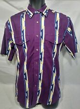 Wrangler Men's S/CH/P Pearl Snap Button purple Western Shirt SZ Small100% Cotton