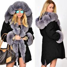 Donna Giacche Colletto in pelliccia con cappuccio Parka caldo invernale 46 48 50
