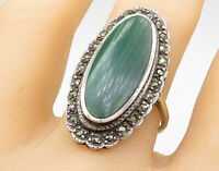 925 Sterling Silver - Malachite Marcasite Trim Cocktail Ring Sz 9.5 - R7537