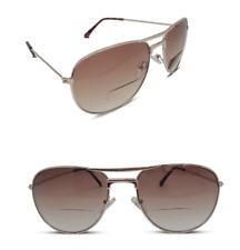 Bifocal Pilot Style Gold Designer Sunglasses Tinted Sun Readers UV Protect