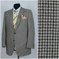 Mens Size KETELSEU UK 40R Houndstooth Check Tweed Jacket Sport Coat Blazer