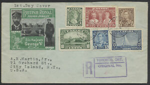 1935 #211-216 George V Silver Jubilee Combo FDC, Ioor Cachet, Registered Toronto