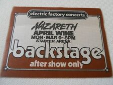 Nazareth/April Wine - satin backstage pass After Show - Stabler Arena - March 9