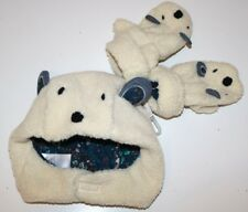 NEXT- NATURAL BEIGE FAUX SHEEP WOOL TEDDY BEAR HAT MITTENS SET - BOYS 3-4 YEARS