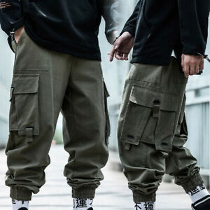 men Cargo Pants military Hip Hop Tatical Trousers Joggers Streetwear Pant C2UK