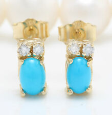 Women Natural Blue Turquoise and Diamond 0.88 CTW 14K Yellow Gold Stud Earrings