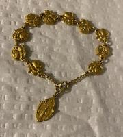 Vtg Religious Rose Bracelet Hidden Saints Gold Filled