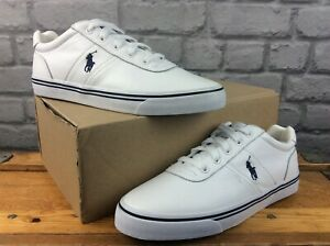 POLO RALPH LAUREN MENS UK 7 EU 41 HANFORD LEATHER TRAINERS WHITE NAVY RRP £75 M