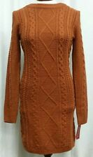 MERONA L Sweater Dress Rust Orange Long Sleeve Crew Neck Cabled Knit Bodycon