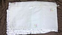 Carter's Sweet Daisy White Cotton Satin Baby Blanket Flowers Ruffle Edge Bows