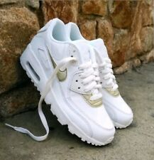 Nike Air Max 90 Leather GS White Gold Trainers Uk5 Us5.5y Eu38 833376 103