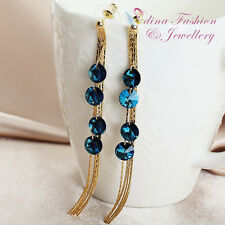 18K Yellow Gold GP Made With Swarovski Crystal Round Cut Long Tassel Earrings