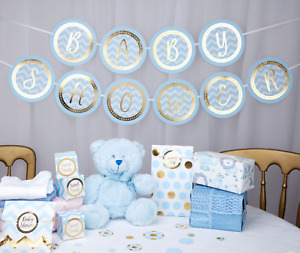 BLUE BABY SHOWER GARLAND  - BLUE AND GOLD - BABY SHOWER DECORATION