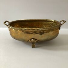 Vintage Brass Hammered Footed Bowl Pot Planter with Handles