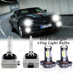 4X D1S Xenon HID Headlight + 5202 LED Fog Light Bulbs For Chevy Camaro 2010-2013