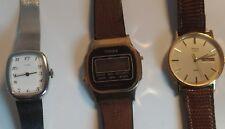 Lot de 3 montres vintage TIMEX en acier et plaqué or