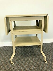 Vintage INDUSTRIAL TYPEWRITER TABLE drop leaf metal mid century plant stand desk