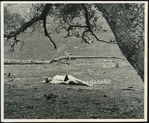 A BEAUTIFUL RECLINING NUDE WOMAN in the WOODS VINTAGE PHOTO