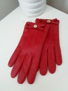 BNWT Coach Red Sheep Leather Merino Wool Lined Bow Detail Gloves size 7