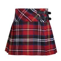 Fille Mini Jupe Plissés à Carreaux Écossais Taille Haute Jupe Tartan avec Boucle