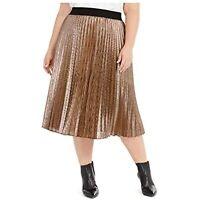 Alfani Women's 3x Plus Size Pleated Metallic Midi Skirt, Bronze, $100, NwT