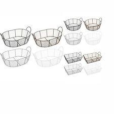 2xClassico Wire Storage Organiser Basket Bathroom Kitchen Rectangle Round Oval