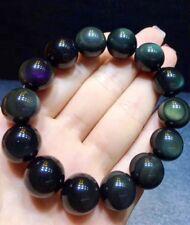 16mm Natural Rainbow Black Obsidian Gemstone Round Beads Stretch Bracelet .