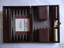 PRESSMAN TRAVEL BACKGAMMON GAME Brown Case Magnetic Pieces COMPLETE VINTAGE SET