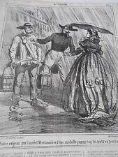 Caricature 1860 La Police exigeant port d'une médaille pour les porteurs d'eau