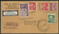 1957 Certified mail Liberty series CA to Newark NJ Scott 1039, 1031, 1044, 946