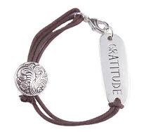 10PCS Fashion Brown Cord GRATITUDE Word ID Bracelet