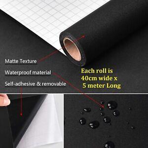 Maustic Black Contact Paper Solid Matte Textured Vinyl Peel and Stick Wallpaper