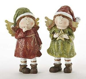 """Delton 5.9"""" Resin Christmas Angels, Set of Two"""