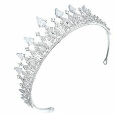 TQD20 Clear Rhinestone Prong Set CZ Alloy Holy White Tiara Bridal Wedding Crown