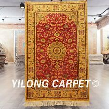 YILONG 2.5'x4' Hand Made Persian Silk Gold Carpet Family Room Tapestry Rug G68C