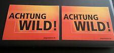 """2 Stck. Jägermeister """"Achtung Wild"""" Aufkleber oder auch als Postkarte Neu"""
